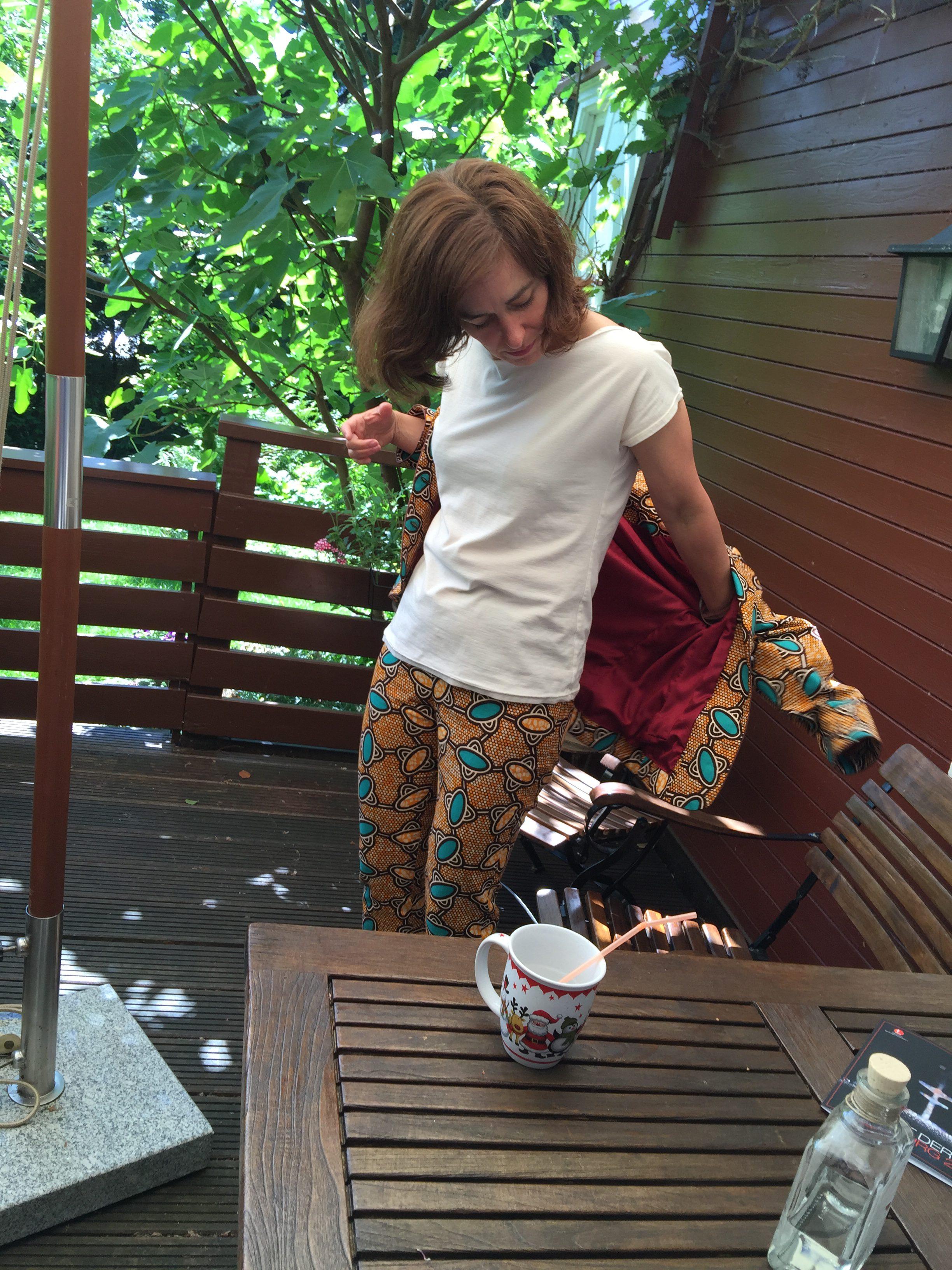 Waxprint-Blazer-Gertie-Trousers-Butterick 5895-Kimono Tee-Maria Denmark