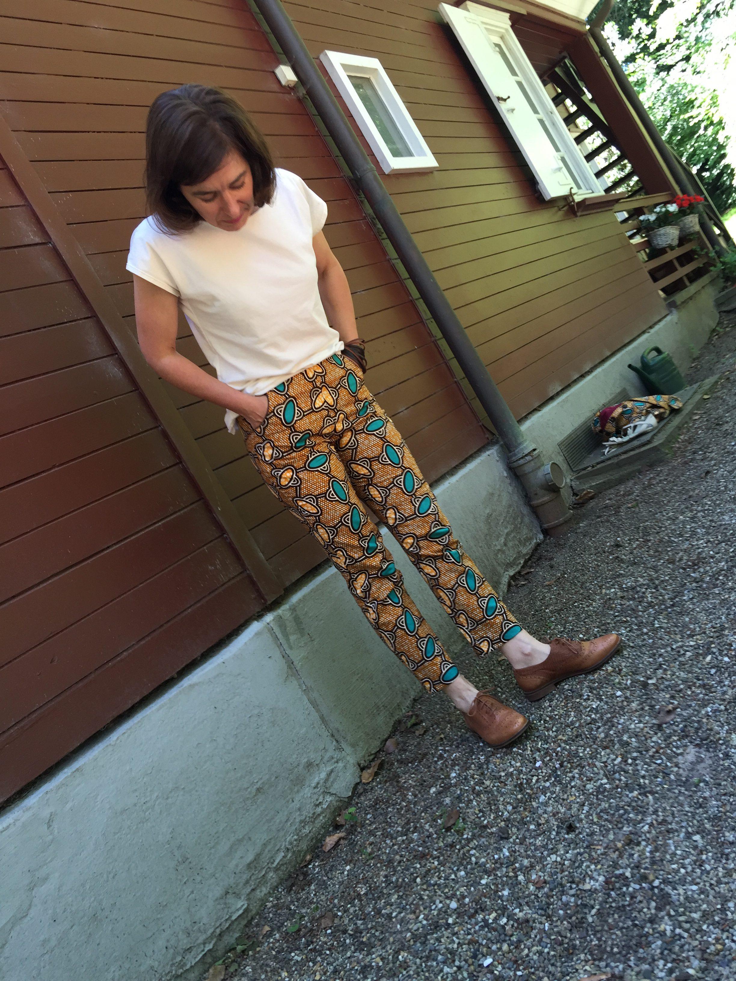 Waxprint-Hose-Trousers-Gertie-Butterick5895-KimonoTee-Maria Denkmark