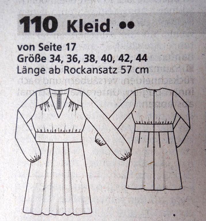 Schnittmusterzeichnung BurdaStyle 11/2016 Kleid für WKSA