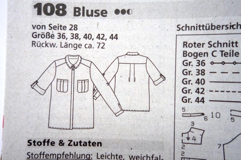 Bluse Leinen schwarz Burda 2/2016