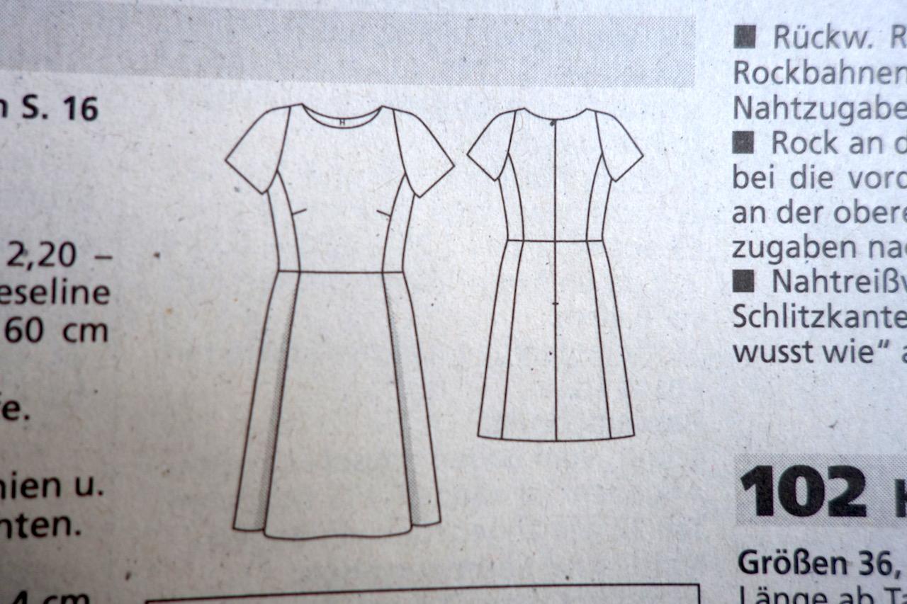 Schnittmusterzeichnung Kleid 101 aus der BurdaStyle 2/2014