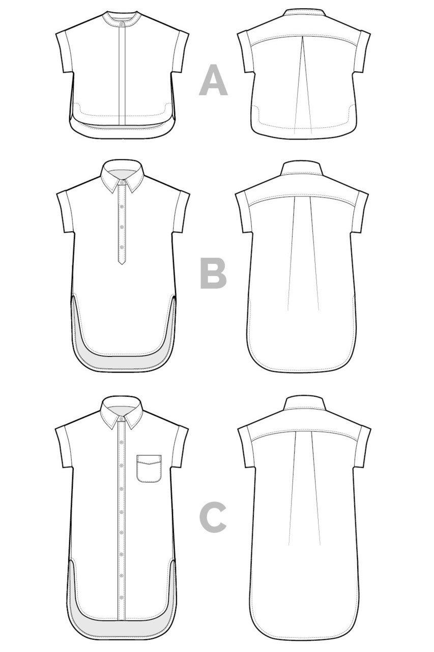 Kalle Shirt Dress Schnittmusterzeichnung